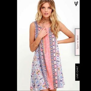 Lulus Whisk Me Away Coral Pink Print Swing Dress